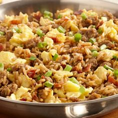 Start your day with a hearty breakfast on the dirty side. Zatarain's Dirty Rice mix is an easy 30-minute dish everyone will love. Stir cooked bacon and scrambled eggs into the rice mix and sprinkle with green onion.