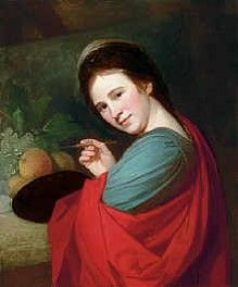 George Romney (British painter) 1734 - 1802 Portrait of Mary Moser, R. half-length, holding a palette and brush, before fruit on a ledge, s. George Michael, Angelica Kauffmann, Academic Art, Royal Academy Of Arts, National Portrait Gallery, Art Uk, Old Master, Your Paintings, Female Art