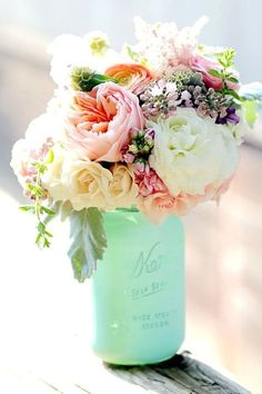 Teal/tiffany blue mason jar vase and a beautiful bouquet of flowers. An easy DIY centerpiece idea. and the flowers would make stunning wedding bouquets or wedding flowers for decorating or reception centerpieces. Dream Wedding, Wedding Day, Trendy Wedding, Wedding Summer, Diy Wedding, Bouquet Wedding, Elegant Wedding, Wedding Ceremony, Indoor Wedding