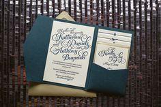 Navy & Gold Pocket wedding invitation, navy, gold, grey, glitter wedding invitations, pocket folder for wedding invitations, letterpress wedding invitations