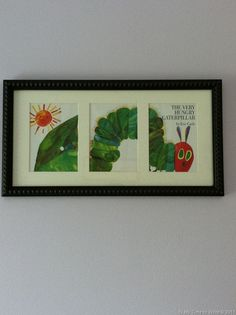 "Frame a Book Jacket for artwork. Could do this with our ""Good"" books for decor in our office"