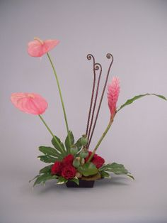 flower arrangements for pentecost   June 12, 2011- Pentecost - Pink anthurium andginger, red roses with ...