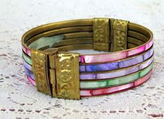 Pink Green Mother of Pearl Bangle Bracelet 1960s by OurBoudoir, $25.00