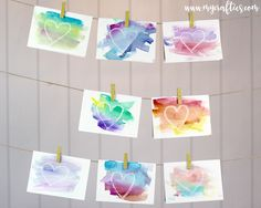 My 2 year-old daughter will be celebrating Valentine's Day for the first time! Her school asked us to send 12 cards to be ex. Easy Watercolor, Valentines, Blog, Cards, Image, Home Decor, Valentine's Day Diy, Decoration Home, Room Decor