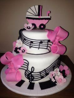 Elegant Musical Baby Shower Cake