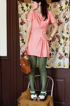 https://flic.kr/p/8w9CX4   Wardrobe Remix August 28, 2010   Vintage pink dress (altered majorly by my pal, Courtney... wish i had a before photo. it's SO much cuter now!) Vintage leather purse & bracelet, Olive Green Tights: Target. Photo taken in Mr. Larson's newww studio above our store. XO.