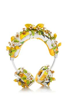 Lemon Floral Headphones You Evidently Can't Listen To by DOLCE & GABBANA for Preorder on Moda Operandi