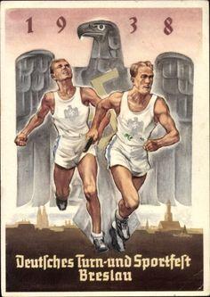 Postkarte Wrocław Breslau Schlesien, 18. Deutsches Turnfest 1938, Staffellauf