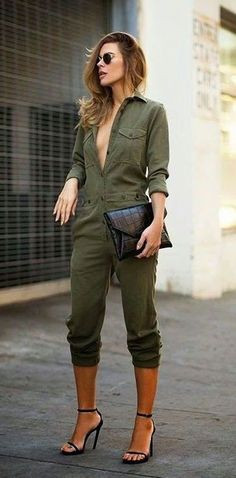 b24385f598ad how to make an army green jumpsuit look stylish (obviously button up) Pant  Jumpsuit