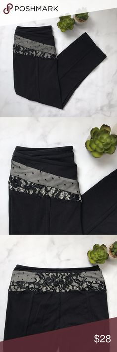 "Victorias Secret Lace Inlay Yoga Pants Black d e s c r i p t i o n  These mid-rise lace inlay crops are the perfect thing to spice up any workout. Stretchy + good weight material ensures that no one will see anything but your gorgeous crops during that yoga class. No tag - but they are a size M from Victoria's Secret. In good condition - some signs of wear in the crotch (see pictures) - still a ton of life left in them!  m e a s u r e m e n t s ✂️  size + m | length + 26""   p a i r e w i t h…"