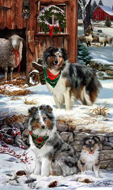 Lynch folk art 12 Christmas cards Sheltie family shares Christmas Eve story