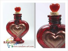 Painted Glass Bottle Reed Diffuser or Oil Lamp Candle Red Heart by RandamArt