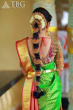 Beautiful Poo Jadai Designs by TBG Bridal Guide Wedding Store. Can a poojadai get grander than this? To customize your poo jadai design Call/WhatsApp 9710408986 South Indian Wedding Hairstyles, Bridal Hairstyle Indian Wedding, South Indian Bride Hairstyle, Bridal Hairdo, Indian Bridal Makeup, Indian Hairstyles, Saree Hairstyles, Bride Hairstyles, Hairstyle Ideas