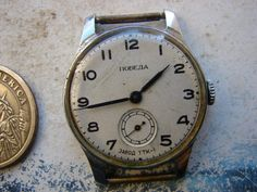This is vintage Leningrad PCHZ Petrodvoretz Factory Early POBEDA signed TTK 1 on dial . The watch is in good working and used vintage looking