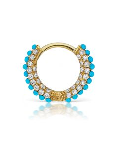 Turquoise and White Diamond Five Row Pave Ring (Daith - bottom hinge) Image Helix Jewelry, Cartilage Jewelry, Daith Earrings, Gemstone Earrings, Body Jewelry, Jewellery, Daith Piercing, Fine Jewelry, Maria Tash Jewelry