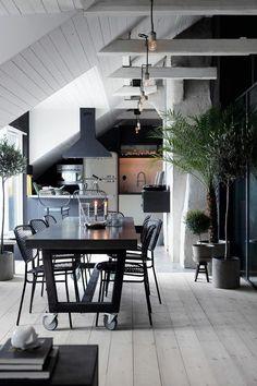 Pavimenti e soffitti in legno bianco, metallo brunito e palme in cucina…