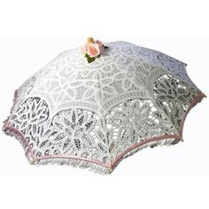 Greatlookz White Battenburg Lace Parasol Fringed With Pink Beads ($75) found on Polyvore