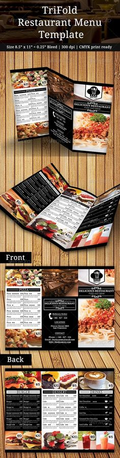 TriFold Restaurant Menu Template #design #speisekarte Download: http://graphicriver.net/item/trifold-restaurant-menu/7748715?ref=ksioks