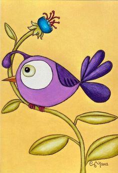 All Dressed Up 8 X Custom Matted Print - Trend Zeichnungen Weihnachten 2020 Purple Bird, Painted Flower Pots, Custom Mats, Rock Painting Designs, Bird Drawings, Pencil Drawings, Bird Design, Chalk Art, Whimsical Art