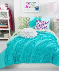 turquoise bedding for girls | ... ruffle comforter sets from teen vogue are a fabulous addition to any