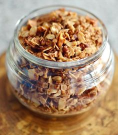 Healthy Coconut Pecan Granola! Oatmeal, shredded coconut, pecans, coconut oil, and honey all come together to make the best granola ever! Make it today!