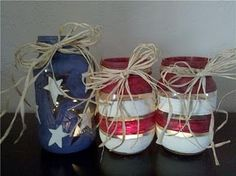 Patriotic Tea Lights: These would be great for Memorial Day, the Fourth of July, or if you just like to display your patriotism and pride in our country! Patriotic Crafts, July Crafts, Summer Crafts, Holiday Crafts, Holiday Fun, Holiday Ideas, Summer Fun, Summer Things, 4th Of July Party