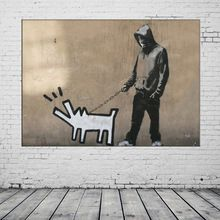 Handmade Canvas Oil Painting Modern Banksy Haring Dog Graffiti Painting Acrylic Paintings Hang Pictures Wall Abstract Picture(China (Mainland))