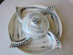 Vintage California Pottery Crudite/Snack Tray by MildredsBargains on Etsy