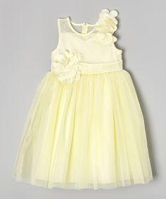 Look at this Donita Yellow Sheer Floral Dress - Girls on #zulily today!