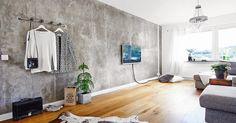 baton, betonowa ściana, skandynawskie wnętrze