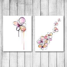 Watercolor Ink Flowers Digital Art Print Gift Set in by 1thirteen