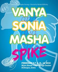 Making a trip to downtown #Dubuque in February? Check out #FlyByNightProductions in the #FiveFlagsCenter #BijouRoom! #VanyaAndSoniaAndMashaAndSpike #Iowa #FBNP #supportlocaltheater