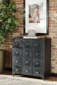 Coaster Furniture Industrial dark-colored accent cabinet This attractive industrial black Diy Furniture Projects, Find Furniture, Accent Furniture, Black Coasters, Black Dressers, Coaster Fine Furniture, Brick And Stone, Stone Walls, Industrial Storage