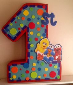 Very Nice Pinata Baby Sesame Street inspired. Safe for Kids and Made to Order. You can order number 1 2 3 4 5 6 7 8 9  16 x 21 x 5 Shipping cost