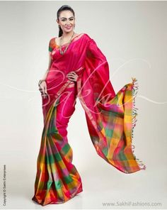 MultiColored Partly Pallu Check Saree