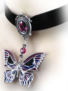 Death's Head Butterfly Choker by Alchemy Gothic #jewelry