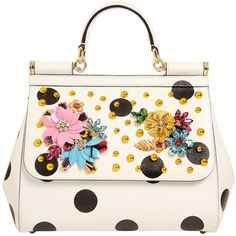 Dolce & Gabbana Women Medium Sicily Embellished Leather Bag ($3,095) ❤ liked on Polyvore featuring bags, handbags, shoulder bags, beaded purse, studded handbags, white handbags, white leather shoulder bag and white leather handbags