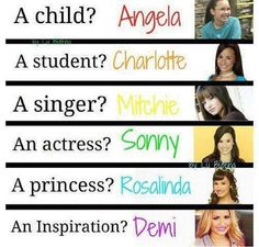 Barney, As the Bell Rings, Camp Rock, Sonny with a chance, Princess protection program, and Demi. <3