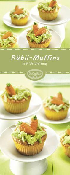 Rübli-Muffins: Kleine, süße Muffins mit hübscher Verzierung zu Ostern