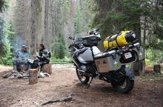 Beautiful camp site after an exciting, adventure filled ride. Enduro Motorcycle, Motorcycle Camping, Motorcycle Adventure, 1200 Gs Adventure, Adventure Tours, Bmw Motors, Touring Motorcycles, Biker Gear, Big Trucks
