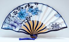 Silk fabric Japanese hand fan wedding folding fan white blue flowers on Etsy, $3.99