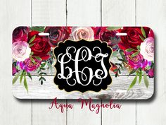 Watercolor Red - Purple - Burgundy Roses - Personalized License Plate - Weathered Wood - Car Tag - Monogrammed License Plate by AquaMagnolia on Etsy Monogram License Plate, License Plate Frames, Monogram Fonts, Monogram Letters, License Plates, Monograms, Personalized Car Tags, Sheepskin Car Seat Covers, Buy Used Cars