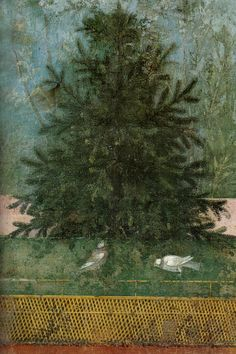 ROMAN FRESCO evergreen tree against blue background with green lawn and white birds and a fence