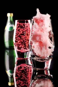 """Want a fun treat to serve at your next shindig? Kids will """"oh and ah"""" when the cotton candy magically transforms into bubbly sweet drinks. This drink would also make the sweetest and prettiest sweet drink at a Pink Fairy Party, Eloise or Princess affair. An for those girls night add wine for an adult drink  . . .#medicinesmexico #cottoncandy #PERRIER"""