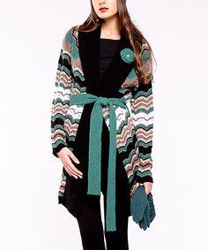 Green Pop Wool-Blend Long Belted Sweater