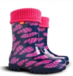 From Girls Kids Fleece-lined Wellington Boots Rainy Snow Wellies Pink Purple Hearts Uk / Eu - Cm)