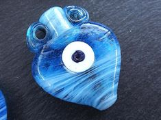 Large Blue Amphora Glass Bead Artisan Evil Eye Nazar Handmade Glass TYPE 1 - 42 x 33mm - 1pc