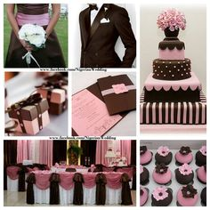 Chocolate brown and pink wedding color scheme.