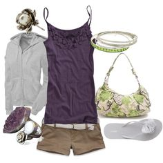 Nice colors for summer. Purple and green, created by lagu on Polyvore