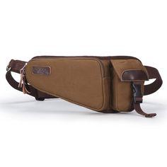 [US$34.88] Men Coffee Canvas Waist Bag Casual Cycling Hiking Crossbody Bag #coffee #canvas #waist #casual #cycling #hiking #crossbody